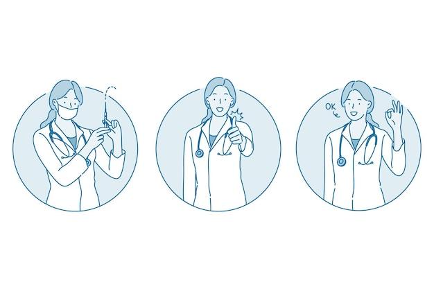 Assistenza sanitaria, medico che mostra segni, concetto di medicina.