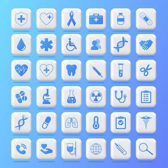 Sanità salute medicina ospedale laboratorio icona salute aiuto medicina icone web logobutton