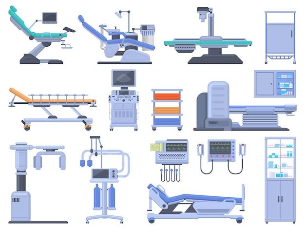 Set di dispositivi per apparecchiature diagnostiche mediche per cliniche ospedaliere sanitarie. scanner mri per controllo medico, set di illustrazioni vettoriali per sedia da dentista. apparecchiature diagnostiche sanitarie per esami sanitari