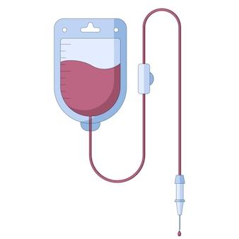Icona sanitaria dell'infusione di contagocce medica in uno stile piatto isolato su sfondo bianco