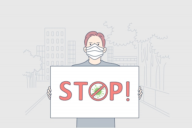 Assistenza sanitaria, manifestazione, infezione, coronavirus, concetto di attivismo.