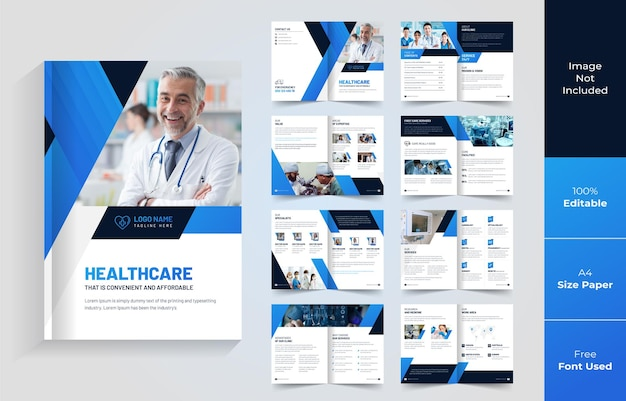 Brochure pieghevole di 16 pagine in ambito sanitario o medico