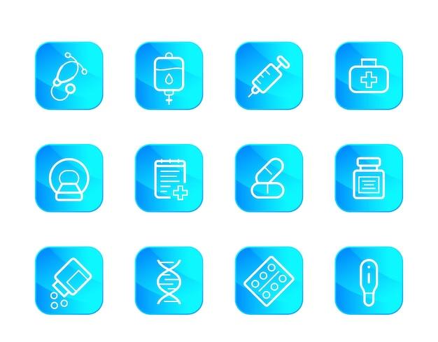 Sanità, set di icone mediche, vettore