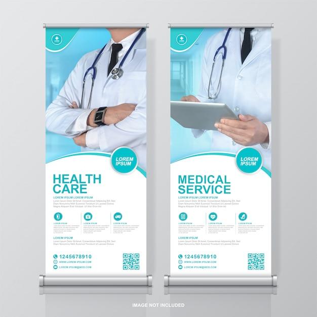 Sanità e medicina roll up design e modello di banner in piedi per la mostra