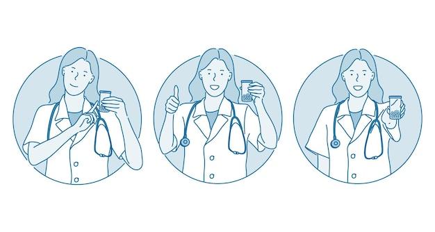Sanità, medicina, medico che mostra il concetto di segni.