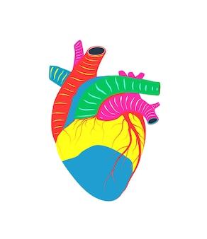 Sanità e medicina cuore, donazione di organi, amore e simbolo di anatomia illustrazione.