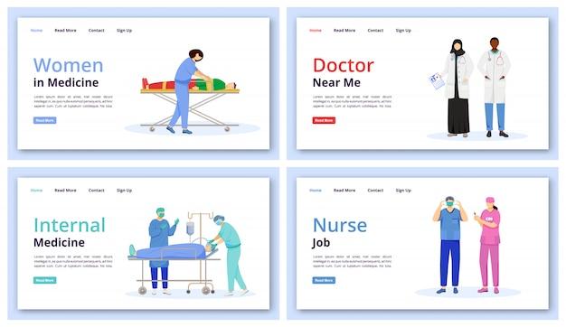 Insieme di modelli di pagina di destinazione di medicina e sanità. medico vicino a me idea dell'interfaccia del sito web con l'illustrazione. layout della homepage di medicina interna. web di lavoro dell'infermiera, concetto del fumetto della pagina web