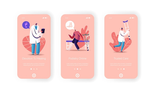 Modello di schermata della pagina dell'app mobile sanitaria.