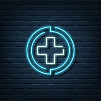 Elementi dell'insegna al neon di assistenza sanitaria