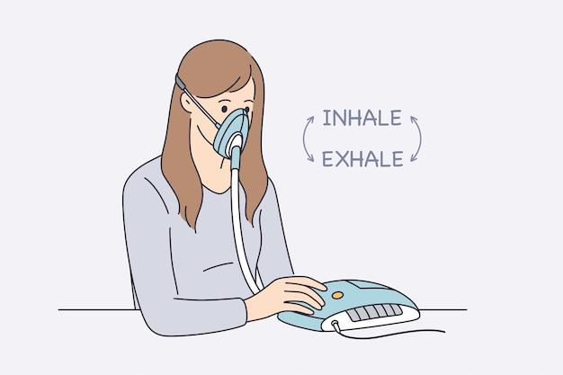 Assistenza sanitaria e problemi con il concetto di respirazione. personaggio dei cartoni animati di giovane donna seduto in maschera con un nemico della macchina medica speciale che inala ed espira illustrazione vettoriale