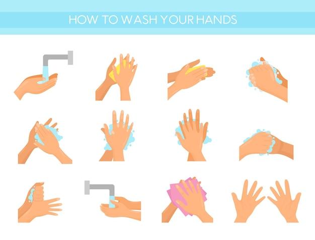Infografica sanitaria e igiene personale, tutte le fasi della pulizia delle mani, disinfezione, antibatterico