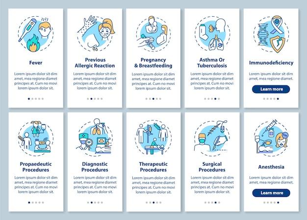 Schermata della pagina dell'app mobile di onboarding dei servizi sanitari con set di concetti