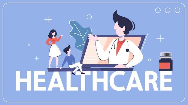 Banner di una sola parola sanitaria. consultazione in linea con il medico