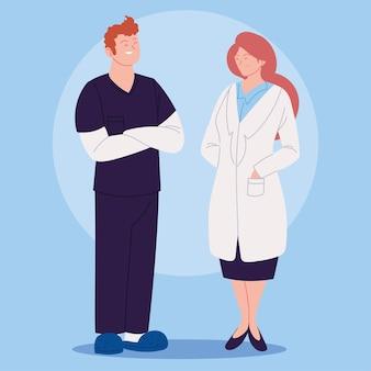 Progettazione dell'illustrazione degli operatori sanitari, della femmina del medico e dell'infermiere