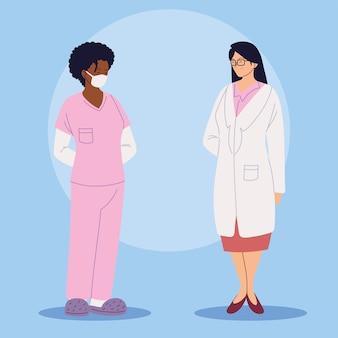 Progettazione dell'illustrazione degli operatori sanitari, della dottoressa e dell'infermiera