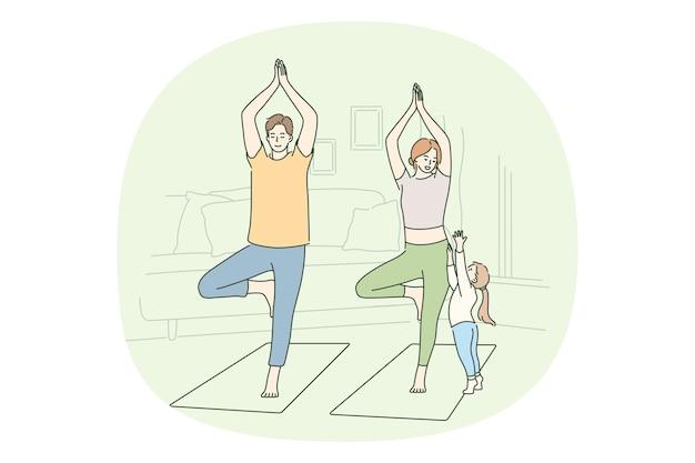 Stile di vita attivo sano, concetto di formazione a casa