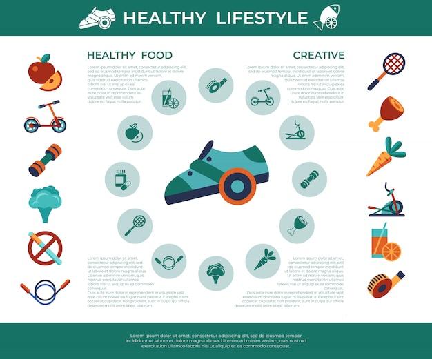 Set di icone di stile di vita sano attività