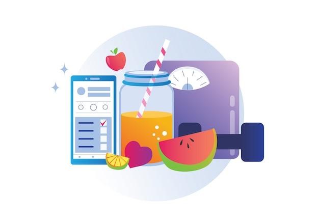Programma di dieta equilibrato sano che controlla l'illustrazione mobile di vettore di concetto di pendenza di app