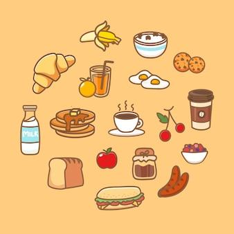 Set di piatti per una sana colazione. icona dell'alimento con cereali, pane, farina d'avena, frullato, frittelle, frutta e bacche. fumetto illustrazione vettoriale.