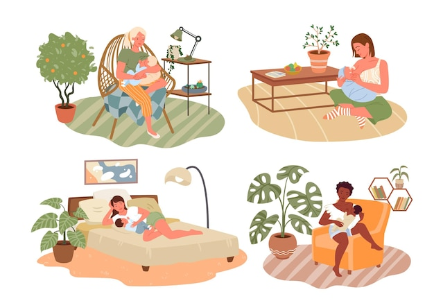 Set di illustrazioni vettoriali per l'allattamento al seno sano e felice per la festa della mamma personaggio dei cartoni animati della mamma