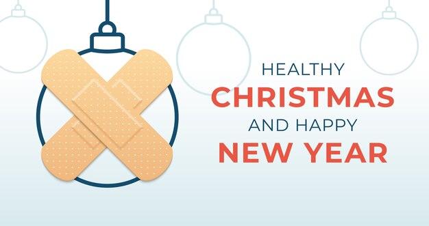 Banner di palla di coronavirus di natale sano e felice anno nuovo