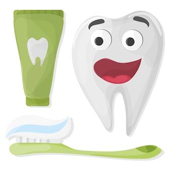 Carattere sano del dente del fumetto sveglio con dentifricio in pasta e spazzolino da denti su fondo bianco - vettore
