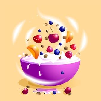 Cibo sano e delizioso. pezzi di frutta, bacche e muesli luminosi e succosi in una ciotola con latte.
