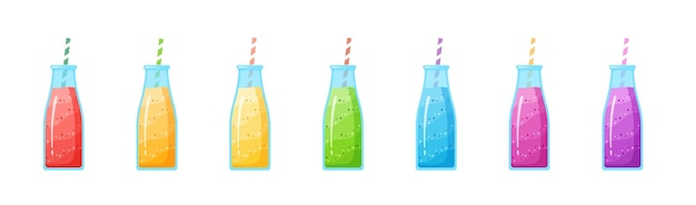 Illustrazione stabilita della bevanda del frullato di dieta sana. bottiglia di vetro con paglia e cocktail fresco a strati nella raccolta di colori dell'arcobaleno isolato su priorità bassa bianca per il frullato del caffè