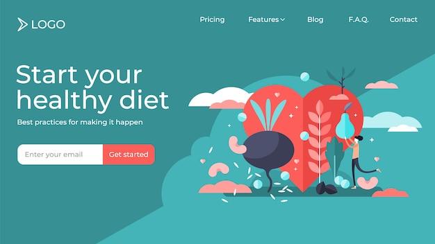 Modello minuscolo della pagina di atterraggio dell'illustrazione delle persone di dieta sana.