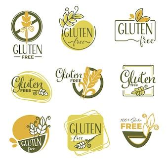 Alimentazione sana e dieta, assistenza sanitaria e nutrizione. etichette senza glutine isolate con spiga di grano. ingredienti nocivi per l'organismo, provocanti allergie o problemi di salute. vettore in stile piatto
