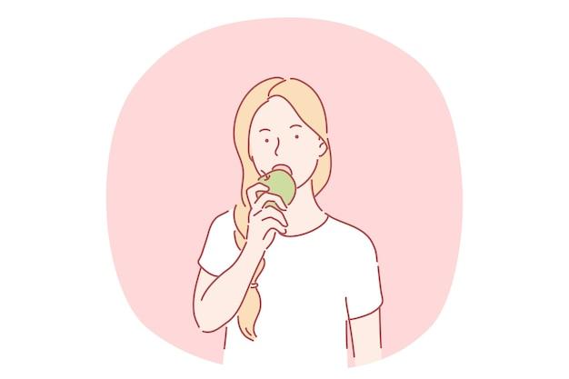 Mangiare sano, cibo vegetariano e vegano, concetto di frutta. personaggio dei cartoni animati di giovane ragazza che morde e mangia mela matura fresca verde. mangiare sano, dieta, dimagrimento, prodotti di stagione