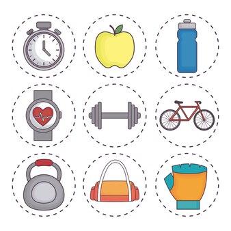 Icone relative allo stile di vita sano e fitness