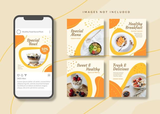 Modello di social media quadrato pulito e semplice per cibo sano per instagram, facebook, giostre.