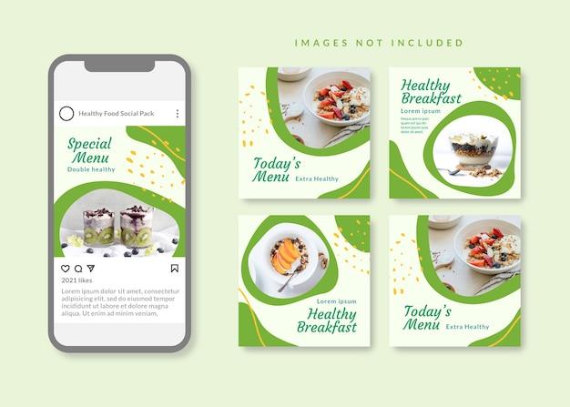Modello di social media quadrato pulito e semplice di cibo sano