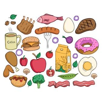 Raccolta di cibo sano con stile colorato doodle su sfondo bianco