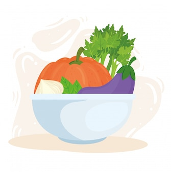 Concetto di cibo sano, verdure fresche nella ciotola