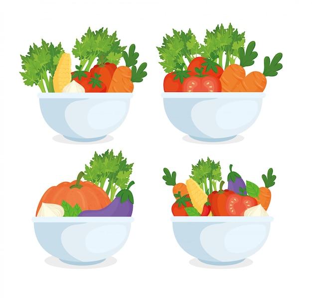 Concetto di cibo sano, verdure fresche in ciotole