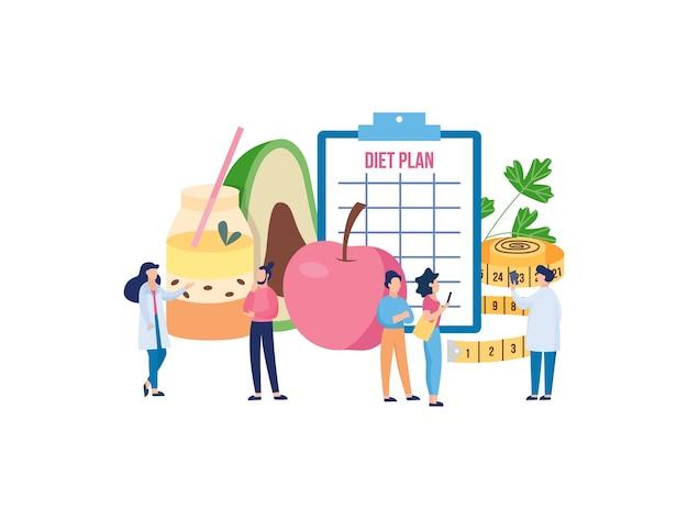 Cibo sano e pianificazione della dieta con le persone