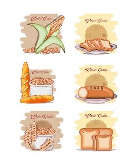Progettazione sana dell'illustrazione di vettore dei prodotti dell'insieme di prodotti alimentari sani