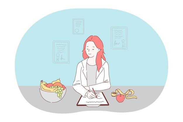 Cibo sano, dieta, concetto di nutrizionista professionista.