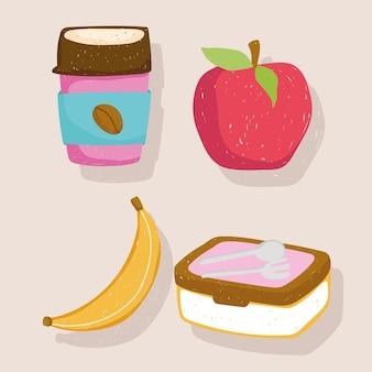 Illustrazione delle icone del kit del pranzo e della banana della mela della tazza di caffè usa e getta dell'alimento sano