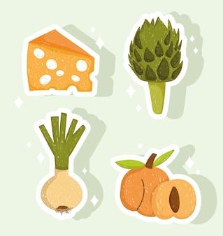 Cibo sano formaggio fresco carciofi pesche cipolla illustrazione