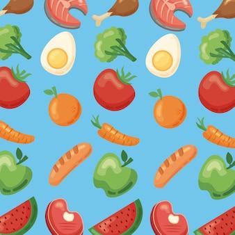 Modello di icone di cibo sano