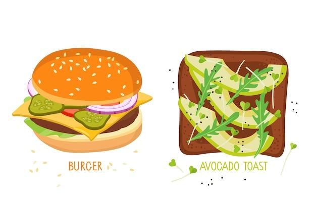 Cibo sano e cibo spazzatura snack salutari e non salutari american cheeseburger toast con avocado