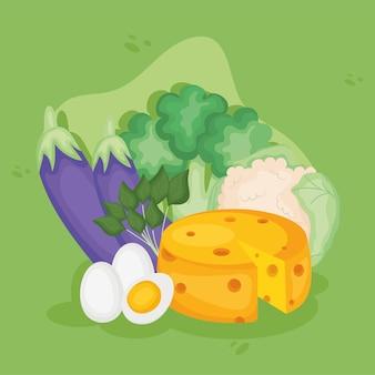 Icone di cibo e cheto sano
