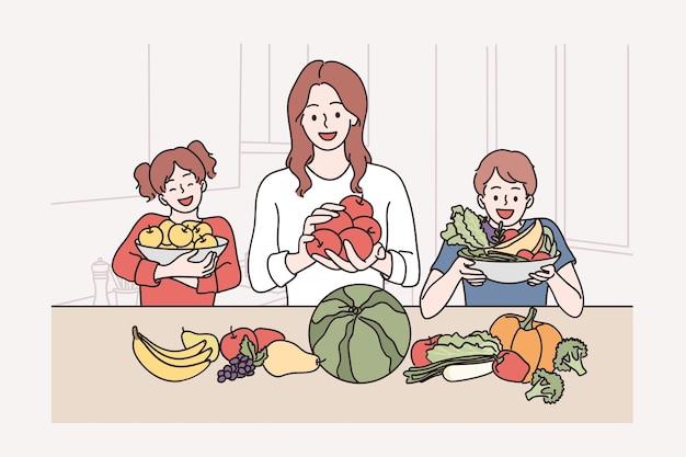 Cibo sano per bambini e concetto di famiglia