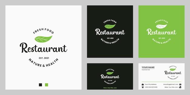 Design del logo di cibo sano per ristorante con biglietto da visita