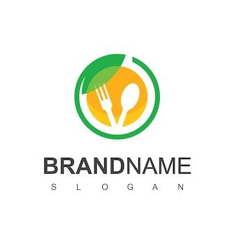 Modello di progettazione di logo di cibo sano, simbolo di pasto vegetariano