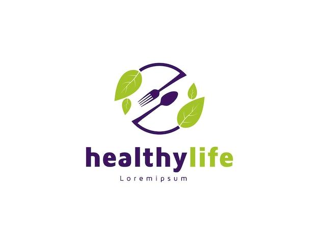 Design del logo del cibo sano con foglie verdi