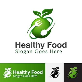 Logo di cibo sano, cibo naturale, simbolo di cibo vegano, modello di progettazione di logo di cibo di frutta